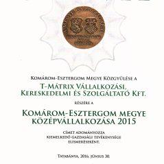 Az év középvállalkozása – 2015.