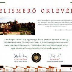 Elismerő oklevél – Környei Vackor Óvoda és Bölcsőde 2013.